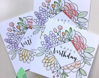 Set of 3 floral diamond greeting cards- customization available!