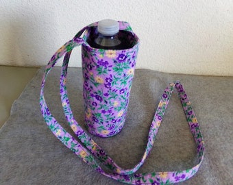 Insulated Water Bottle Carrier - Lavender Floral
