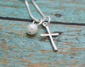 Personalized Cross Necklace, Sterling Silver Cross Necklace, Tiny Cross Necklace, Confirmation Gift, Flower Girl Gift