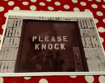 Spiral-bound notebook: Please Knock