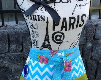 Loralie Pink Hibiscus Luau - Sewing -Quilting -Crafter's -Vendor's - Waitress Half Apron