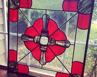 Smokey Rose Art Glass Window