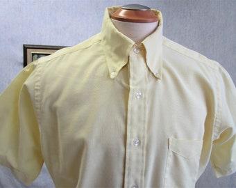 "70s 16 1/2"" Sero Mills-Touche Oxford Men's Button Down Big Collar Short Sleeve Shirt Yellow"