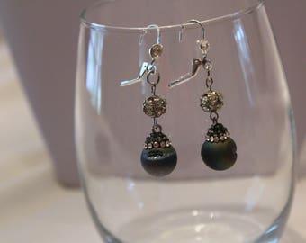 Earrings, Prom Jeweley, Bridal Jewelry, Purple and Faux Diamond, Dangle Earrings, Purple and Crystal Earrings