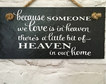 Bereavement gift. Someone in heaven quote, Sympathy gift, Memorial gift. Heaven, Handcut slate,  Condolence gift, In loving memory