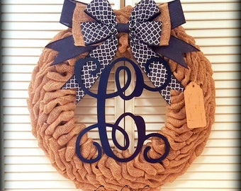 Monogrammed Wreath-Initial Wreath-Burlap Wreath-Front Door Burlap Wreath-Front Door Wreath-Navy Blue Wreath-Burlap Wreath-Rustic Wreath