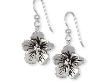 Sterling Silver Hibiscus Flower Earrings Jewelry HIB-E