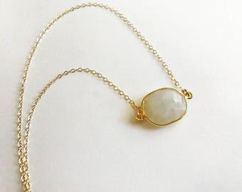Moonstone Bezel Necklace