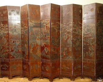 "folding-screen 12-panel Coromandel Chinese with inscription ""Kang Hi"" 1622-1661"