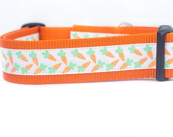 Easter Dog Collar - Carrots Dog Collar - 1.5 inch wide Dog Collar - buckle or martingale collar - Spring dog collar - large dog collar  wide