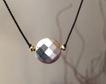 Faceted Silver Disk Necklace