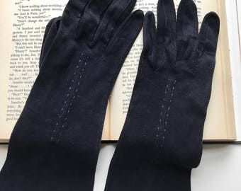 Formal Gloves, Vintage Gloves, 1960s, Long Black Gloves, 60s Gloves, Black, Size Medium, Womens Gloves, Ladies Gloves, Driving Gloves