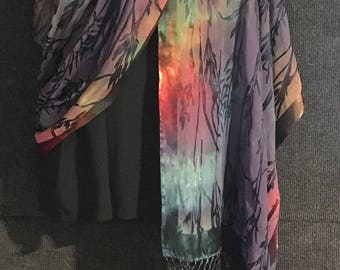 Hand Dyed Silk and Rayon Shawl or Long Scarf in Bamboo Burn Out in Blue Color Mix