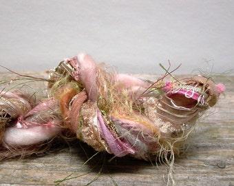 prairie blossom fringe effects™  21yds specialty ribbons fibers art yarn bundle . pink gold green beige sparkle embellishment yarn pack