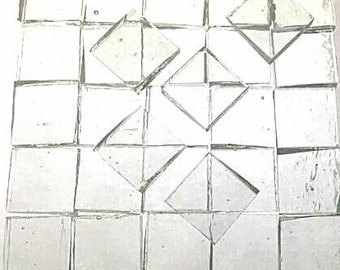 """Transparent Clear Thin 1/2"""" Squares Stained Glass Jewelry Supply A44"""