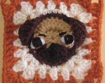 Pug rugalugs square crochet pattern.