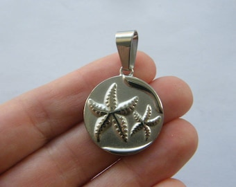 1 Starfish pendant silver tone stainless steel FF409