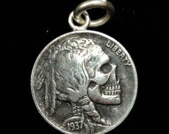 Sterling Silver Buffalo / Indian Head Nickel Skeleton Skull/ Buffalo Skeleton Hobo Nickel