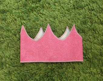Kid's crown - fabric crown - princess crown - cherry - small dots pattern