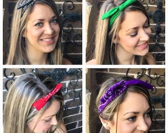 Wire Headband - Wrap Headband - Wire Twist Wrap - Bandana Head Wrap - Rockabilly Headband - Dolly Bow - Retro Headband - Pin Up Headband