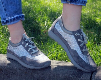 Womens sneakers, Shoes women's, Womens leather shoes, Suede shoes, Gray shoes, Silver shoes, Flat Shoes, Handmade, laces shoes, Spring shoes
