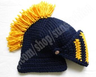 knight helmet crochet beanie hat Game of thrones original gift navy blue yellow  knitted cap knight snowboard ski men kid women unisex hat