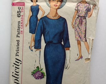 Simplicity 5319 Womans Dress, Size 14 1/2, Vintage 1960's