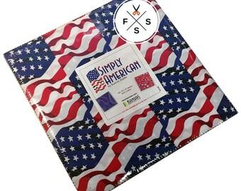 "SALE Fabric Benartex Simply American Precut 10"" Fabric Squares Quilting Cotton Layer Cake SMP10PK"