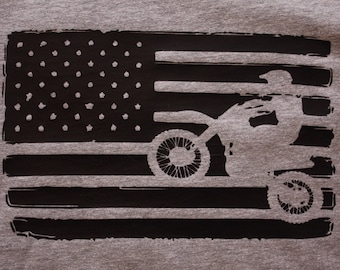 American Flag Dirt Bike Tee