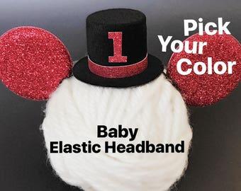 Mickey Mouse Birthday Hat,Mickey theme Birthday,Mickey Ears Top Hat,Mickey Elastic Headband,Baby Top Hat,Mickey mouse Top hat