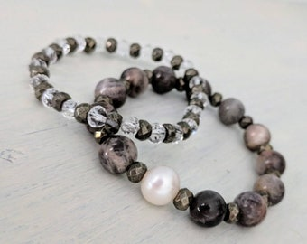 Black Sunstone with faceted pyrite rondelles & freshwater pearl.