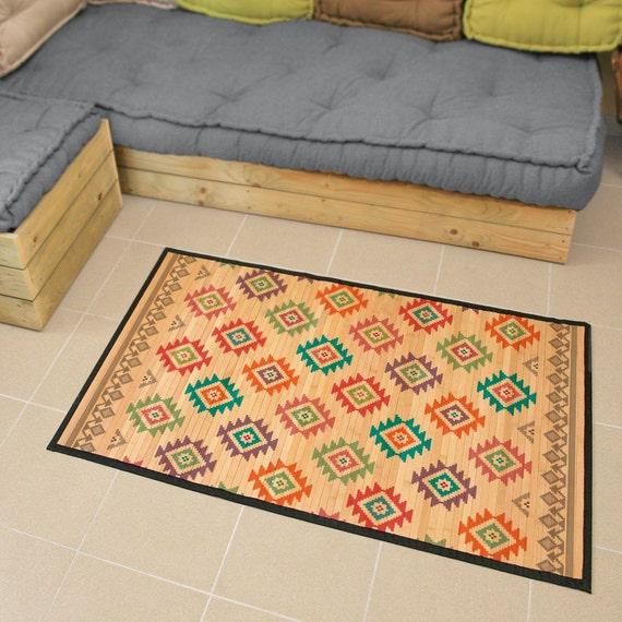 Gedruckte Bambusmatte Bambus Teppich bunte ethnische Muster