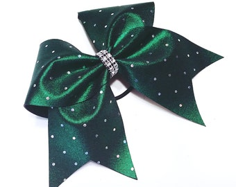 Dark green cheer bow, Cheer bow, silver sequin cheer bow, cheer bows, cheerleading bow, softball bow, dance bow, large cheer bow, big bow