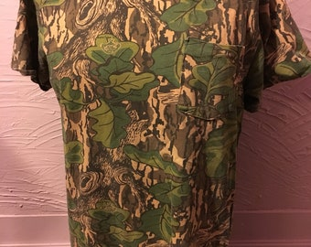 Mossy Oak Full Foliage Camouflage Pocket T-Shirt M 80's