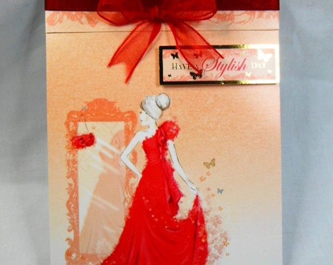 Lady in Red Dress, Birthday Card, Greeting Card, Elegant Lady in a Red Dress, Female Any Age, Daughter, Sister, Niece, Mum, Aunt