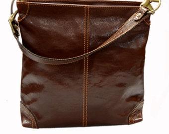 Leather ladies handbag shoulder bag luxury bag women handbag coffee brown red made in Italy