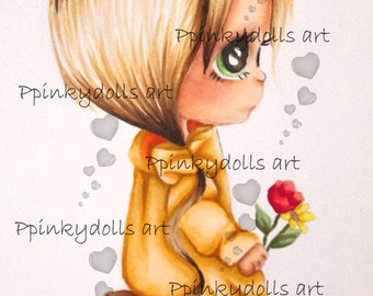 INSTANT DOWNLOAD Digital Digi Stamps..by Chrishanthi's art,Looking for you''