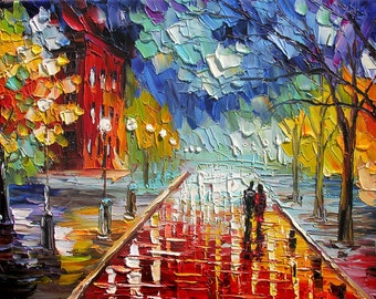 Stretched hand embellished textured PRINT on Canvas of Original Cityscape Painting By Marchella Red Blue Sky Rainy Reflection Couple Love