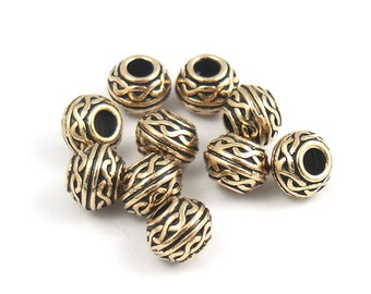 Celtic Beads 8mm Large Hole Gold Beads - TierraCast Pewter Antique Gold Beads for Leather - Knotwork Knot Work Metal Beads (P398)