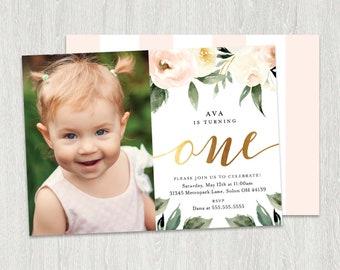 First birthday invitation etsy photo first birthday invitation girl first birthday invitation watercolor flowers one birthday invitation card printable digital file filmwisefo