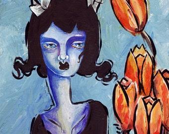 Lowbrow Art Flower Girl - Tulips - ORIGINAL 5x5 Acrylic painting on wood surreal sad girl black blue orange tulips melancholy bloodshot eyes