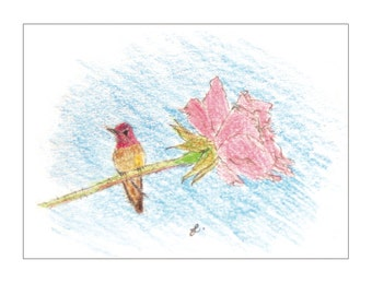 Notecards - Anna's Hummingbird on Pink Rose (set 10, with white envelopes)