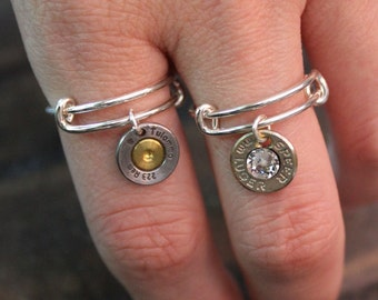 Handmade Bullet Rings Adjustable with or without Swarovski Crystals Bullet Jewelry for the Country Girl