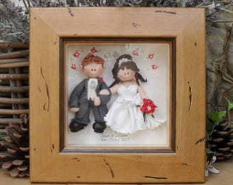 PERSONALISED Wedding Gift, Custom Made Plaque, Frame, Polymer Clay