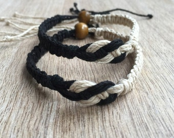 His and her Bracelet, Black and Natural, Couple Hemp Bracelet, Love Couple Bracelet, Matching Bracelets, Set of 2  HC001134