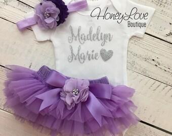 PERSONALIZED silver glitter shirt bodysuit, lavender purple ruffle tutu skirt bloomers flower headband bow, newborn toddler baby girl outfit