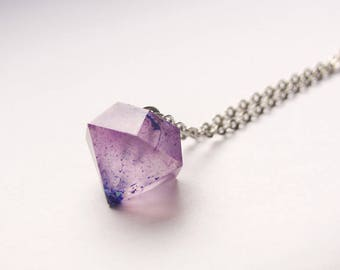Big diamond resin necklace with glitter, sparkling, long necklace, resin crystal, purple and blue