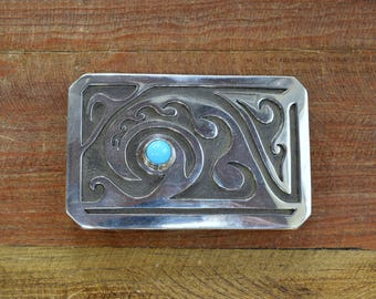 Turquoise and Sterling Silver Overlay Belt Buckle by Micheal Whiteshadow