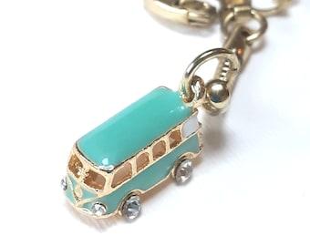 "Camper Van Keyring, Traveller""s Gold Plated Keychain with 3D Turquoise Blue / Mint Enamel and Rhinestone Camper Keyring Surfer Gift Idea"