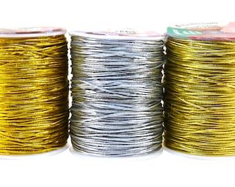 Mandala Crafts Woven Tinsel Stretch Elastic Metallic Cord, 1mm, 100 M / 109 Yards, Many Color Options